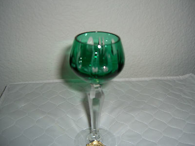 ECHT KRISTALL GERMANY GREEN CUT TO CLEAR CORDIAL