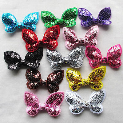 12PCS 60mm Sequins Bows Flowers Butterfly Appliques Sewing Wedding Decor A431