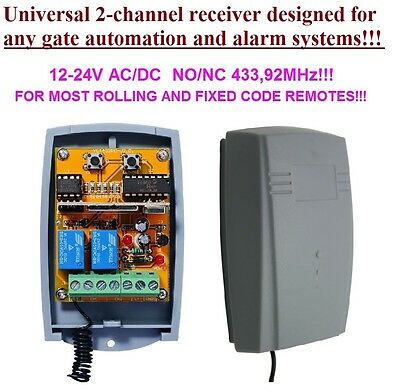 Universal 433,92MHz 2-channel receiver, rolling & fixed code 12-24V DC, COM/N.O