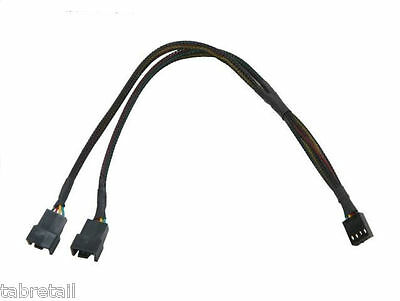 30cm PWM 3/4 pin Y Splitter Computer PC Fan Power Cable - Black Sleeved Braided