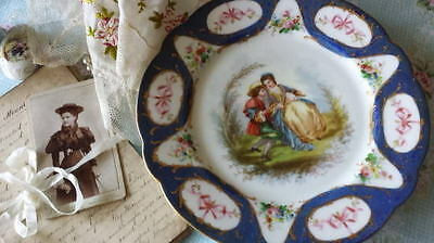 Antique French Sevres Romantic Scene Pink Ribbon Bow Swags Cabinet Plate