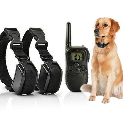 2 Receiver Waterproof LCD Remote Shock Dog Training Collar Electric Trainer