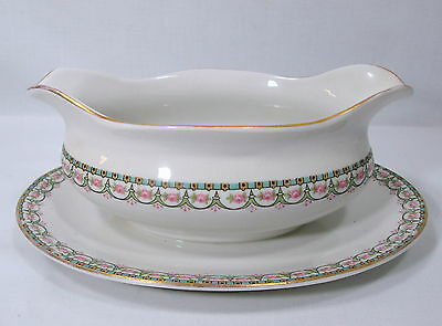 Vintage Buffalo China Gravy Boat Attached Under Plate 1920 Pink Flowers Gold