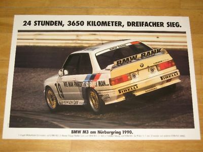 BMW M3 E30 EVO POSTER 14 - ON NURBURGRING 1990 / ORIGINAL VINTAGE in MINT