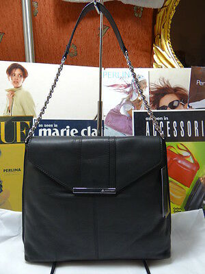 BRAND NEW B.MAKOWSKY COLORBLOCK FLAP HOBO BLACK BM42310 NICE SILVER CHAIN $268.