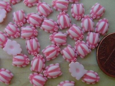 Vintage 6 x 7mm Pink  & White Lucite Bug Cabs Japan 40