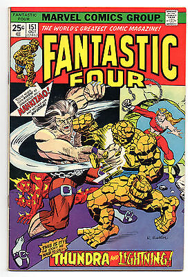 Fantastic Four Vol 1 No 151 Oct 1974 (VFN-) Cents copy Marvel Comics, Bronze Age