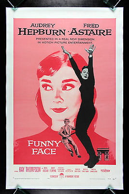 FUNNY FACE * CineMasterpieces ORIGINAL MOVIE POSTER AUDREY HEPBURN PINK 1957