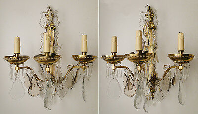 Pair of excelents sconces French solid & golden Bronze crystal almonds prisms