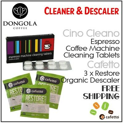 CINO CLEANO Espresso Machine Cleaning Tablets + Organic Descaler by Cafetto