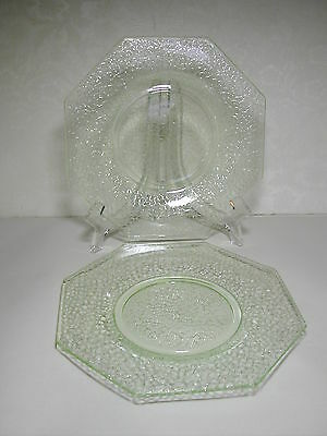 2 Vintage L. E. Smith Hexagonal 8 Inch Salad Plates Green By Cracky