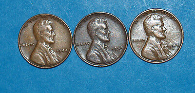 LINCOLN  CENTS 1944  P-S-D