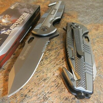 MTECH USMC Marines Officially Licenced Grey Spring Assisted Opening Rescue Knife