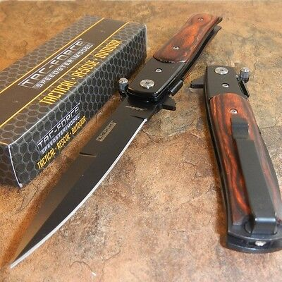 TAC-FORCE Godfather Wood Stiletto Spring Assist Open Folding Blade Pocket Knife