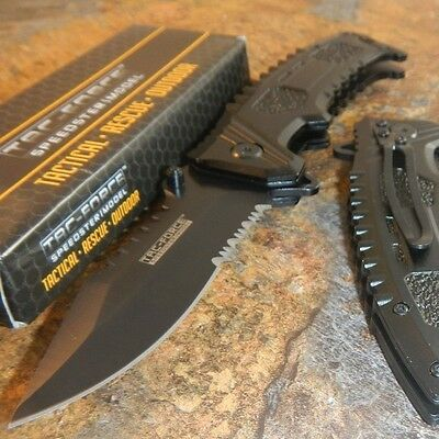 TAC-FORCE Black Sawback CLIP POINT Spring Assisted Opening Tactical Knife NEW!!!
