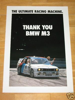 "Bmw M3 E30 Evo Poster 7 "" Thank You Bmw M3 "" Ultimate Racing Machine / Vintage"