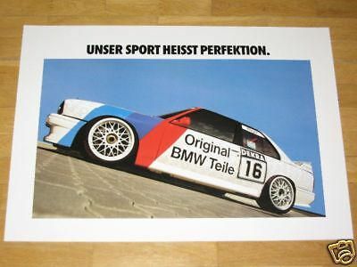 "BMW M3 E30 EVO POSTER 5 - "" PERFECTION M POWER "" / ORIGINAL VINTAGE in MINT"