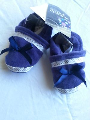 Bnwt Pumpkin Patch Blueberry Velour Bow Booties, Mix & Match To Save!!