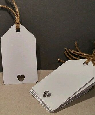 12 White. Vintage Love Heart Wedding Labels Wish Tree Tags Place Cards