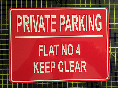 PERSONALISED PRIVATE NO PARKING METAL SIGN (size below) ANY COLOUR AND TEXT