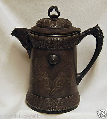 Antique Victorian 1904 Barbour Quadruple Silver Plated Tilting Ice Water Pitcher