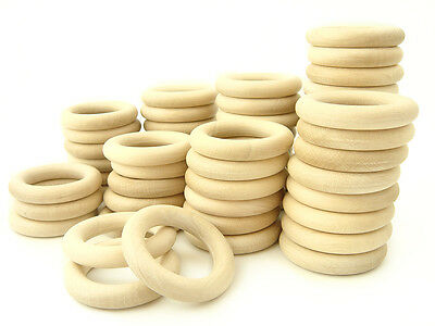 50 pcs. Natural Wooden Organic Teething Rings - 2 1/3 inches (60 mm.) WHOLESALE