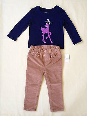 NWT BABY GAP REINDEER APPLIQUE ACCENTS TEE & PULL-ON LEGGING CORDS (18-24 M)