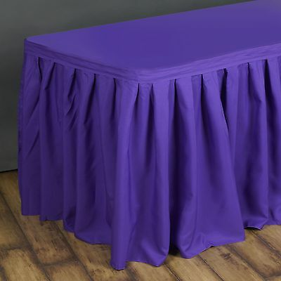 14' Purple POLYESTER PLEATED TABLE SKIRT Tradeshow Wedding Catering Supply