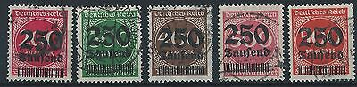 German Reich 1923 High Inflation Figure in Circle definitives Mi 292-296 used
