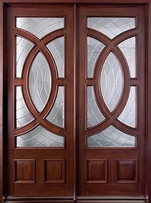 Solid Mahogany Wood Entry Door Double Prehung Dark Mahogany Finish 985 DD