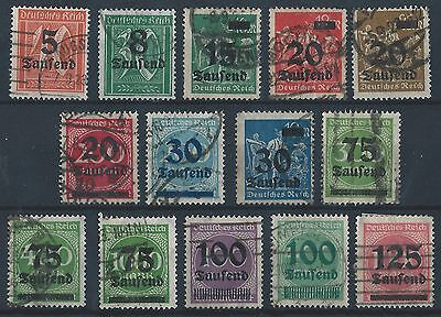 German Reich 1923 High Inflation Figure in Circle definitives Mi various used