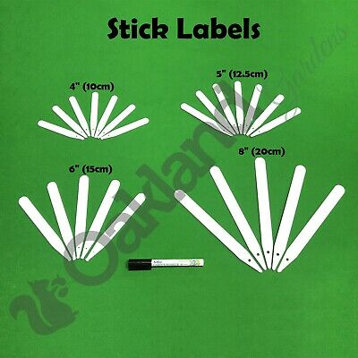 """White Plant Stick In Labels Garden Tee Seed Tray Marker Pen 4"""" 5"""" 6"""" 8"""" 12"""""""