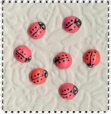 VINTAGE Plastic Cabochon HAND PAINTED LADY BUGS CABS JAPAN BRIGHT PINK BLACK LOT