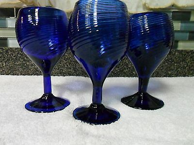3 Vintage Avalos Mexican Hand Blown Sapphire Cobalt Blue Swirl Wine Goblets