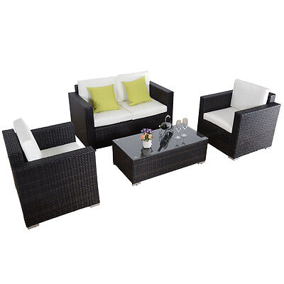 Brown 4PC Patio Furniture Rattan Sofa Set Outdoor Wicker Sectional  W/Cushions