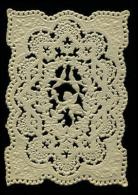 120+ Year-old Antique Victorian Valentine Paper Lace, Cupid & Dove Pattern