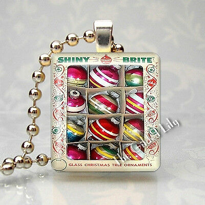 SHINY BRITE VINTAGE CHRISTMAS TREE ORNAMENTS Scrabble Tile Pendant Jewelry Charm