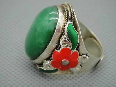 Tibet Silver inlay Natural Green Jade Cloisonne enamel Red flower Adjust Ring