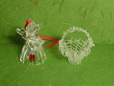 Lot 2 Mini Clear Glass Christmas Ornaments Spun Basket + Angel Bell Red Clapper