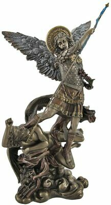 ST MICHAEL ARCHANGEL TRAMPLES DEMON - W FLOWERS Figurine Statue Bronze Finish