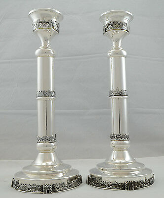 New Sterling Silver 925 Candlesticks Set/Pair W/ Design Of Jerusalem CityJudaica