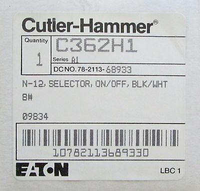 Eaton Cutler Hammer N-12 Black White ON OFF Selector Switch Handle C362H1