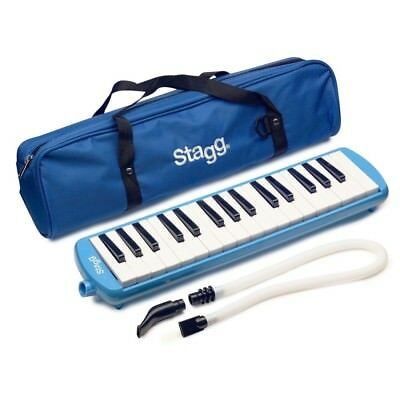 Stagg MELOSTA32BL BLUE  Plastic Melodica Reed Keyboard with 32 keys & Mouthpiece