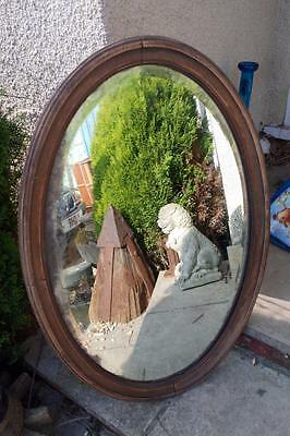 Antique Oval Mirror Mercury Glass Rustic Oak Perfectly Age Vintage Rustic Chic