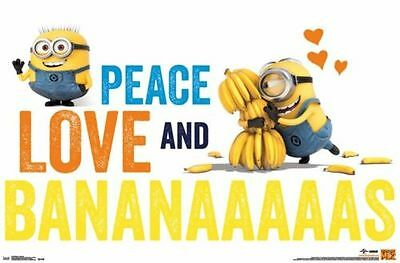 2014 UNIVERSAL DESPICABLE ME 2 MINIONS PEACE LOVE AND BANANAS POSTER NEW NEW