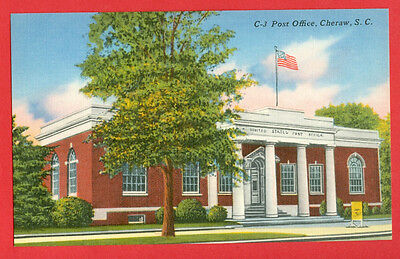 POST OFFICE, CHERAW, SC Unposted hand colored print, Linen