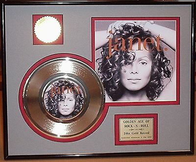 Janet Jackson 24k Gold Record Framed & Matted Collectors Edition USA Ships Free