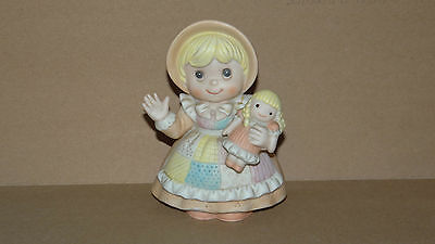 Homco Figurine Display Porcelain Little Girl in Quilted Dress with Doll #1403