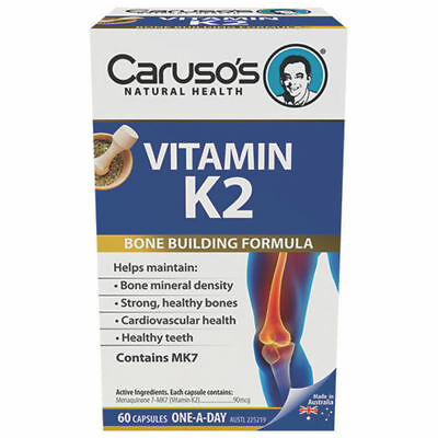 ツ Caruso's Vitamin K2 60 Capsules Bone Building Formula With Mk7 Healthy Bones