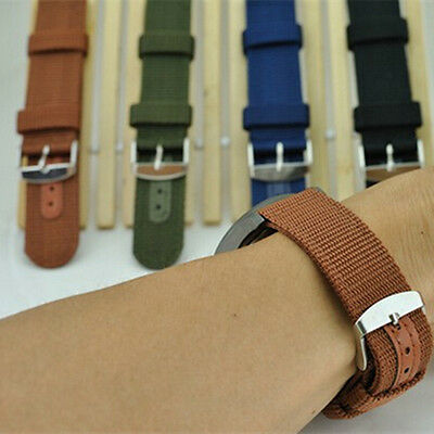 New 4 Color Military Army Nylon Canvas Wrist Watch Band Strap 18mm 20mm 22mm 24m